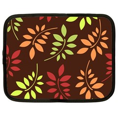 Leaves Wallpaper Pattern Seamless Autumn Colors Leaf Background Netbook Case (large) by Simbadda
