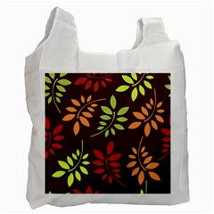 Leaves Wallpaper Pattern Seamless Autumn Colors Leaf Background Recycle Bag (two Side)  by Simbadda
