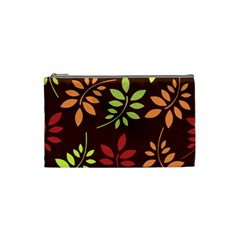 Leaves Wallpaper Pattern Seamless Autumn Colors Leaf Background Cosmetic Bag (small)  by Simbadda