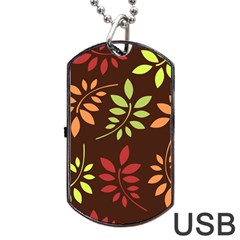 Leaves Wallpaper Pattern Seamless Autumn Colors Leaf Background Dog Tag Usb Flash (two Sides) by Simbadda