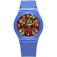 Leaves Wallpaper Pattern Seamless Autumn Colors Leaf Background Round Plastic Sport Watch (s) by Simbadda