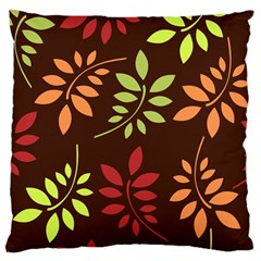 Leaves Wallpaper Pattern Seamless Autumn Colors Leaf Background Large Cushion Case (one Side) by Simbadda