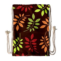 Leaves Wallpaper Pattern Seamless Autumn Colors Leaf Background Drawstring Bag (large) by Simbadda