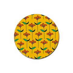 Small Flowers Pattern Floral Seamless Vector Rubber Coaster (round)  by Simbadda