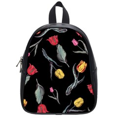 Colorful Tulip Wallpaper Pattern Background Pattern Wallpaper School Bags (small)  by Simbadda