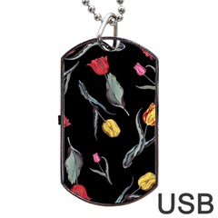 Colorful Tulip Wallpaper Pattern Background Pattern Wallpaper Dog Tag Usb Flash (two Sides) by Simbadda