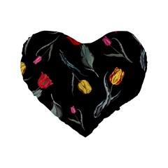 Colorful Tulip Wallpaper Pattern Background Pattern Wallpaper Standard 16  Premium Flano Heart Shape Cushions by Simbadda