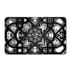 Geometric Line Art Background In Black And White Magnet (Rectangular) by Simbadda