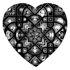 Geometric Line Art Background In Black And White Jigsaw Puzzle (heart) by Simbadda