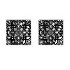 Geometric Line Art Background In Black And White Cufflinks (square) by Simbadda