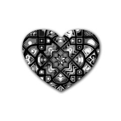 Geometric Line Art Background In Black And White Rubber Coaster (heart)  by Simbadda