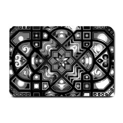 Geometric Line Art Background In Black And White Small Doormat  by Simbadda