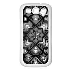 Geometric Line Art Background In Black And White Samsung Galaxy S3 Back Case (white) by Simbadda