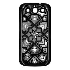 Geometric Line Art Background In Black And White Samsung Galaxy S3 Back Case (black) by Simbadda