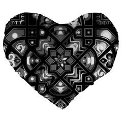 Geometric Line Art Background In Black And White Large 19  Premium Flano Heart Shape Cushions by Simbadda