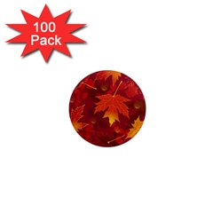 Autumn Leaves Fall Maple 1  Mini Magnets (100 Pack)  by Simbadda