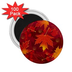 Autumn Leaves Fall Maple 2 25  Magnets (100 Pack)  by Simbadda