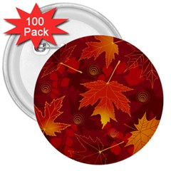 Autumn Leaves Fall Maple 3  Buttons (100 Pack)  by Simbadda