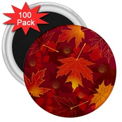 Autumn Leaves Fall Maple 3  Magnets (100 Pack) by Simbadda