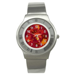 Autumn Leaves Fall Maple Stainless Steel Watch by Simbadda