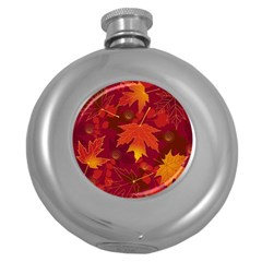 Autumn Leaves Fall Maple Round Hip Flask (5 Oz) by Simbadda