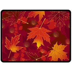 Autumn Leaves Fall Maple Fleece Blanket (large)  by Simbadda