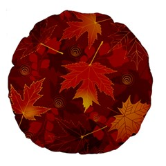 Autumn Leaves Fall Maple Large 18  Premium Round Cushions by Simbadda