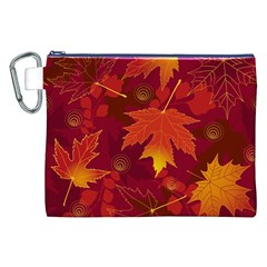 Autumn Leaves Fall Maple Canvas Cosmetic Bag (xxl) by Simbadda