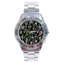 Floral Pattern Background Stainless Steel Analogue Watch by Simbadda
