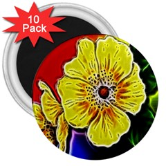 Beautiful Fractal Flower In 3d Glass Frame 3  Magnets (10 Pack)  by Simbadda