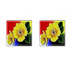 Beautiful Fractal Flower In 3d Glass Frame Cufflinks (square) by Simbadda
