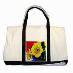 Beautiful Fractal Flower In 3d Glass Frame Two Tone Tote Bag by Simbadda