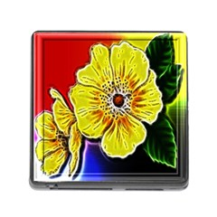 Beautiful Fractal Flower In 3d Glass Frame Memory Card Reader (square) by Simbadda