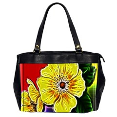 Beautiful Fractal Flower In 3d Glass Frame Office Handbags (2 Sides)  by Simbadda