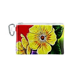 Beautiful Fractal Flower In 3d Glass Frame Canvas Cosmetic Bag (s) by Simbadda