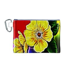 Beautiful Fractal Flower In 3d Glass Frame Canvas Cosmetic Bag (m) by Simbadda