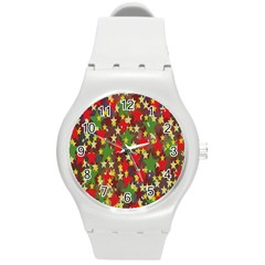 Star Abstract Multicoloured Stars Background Pattern Round Plastic Sport Watch (m) by Simbadda