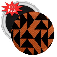 Brown Triangles Background 3  Magnets (100 Pack) by Simbadda