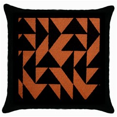 Brown Triangles Background Throw Pillow Case (black) by Simbadda