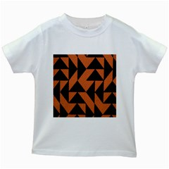 Brown Triangles Background Kids White T Shirts