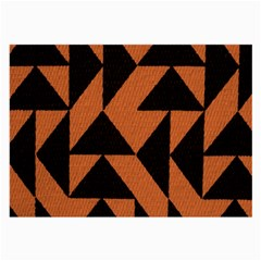 Brown Triangles Background Large Glasses Cloth by Simbadda