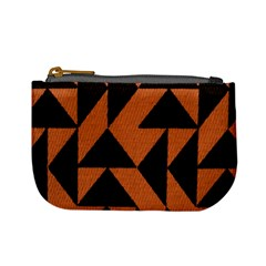 Brown Triangles Background Mini Coin Purses by Simbadda