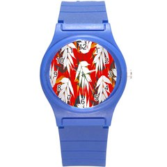 Leaves Pattern Background Pattern Round Plastic Sport Watch (S)