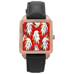 Leaves Pattern Background Pattern Rose Gold Leather Watch  by Simbadda
