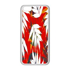 Leaves Pattern Background Pattern Apple Iphone 5c Seamless Case (white) by Simbadda