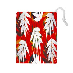 Leaves Pattern Background Pattern Drawstring Pouches (large)  by Simbadda