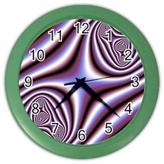 Fractal Background With Curves Created From Checkboard Color Wall Clocks by Simbadda