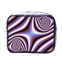 Fractal Background With Curves Created From Checkboard Mini Toiletries Bags by Simbadda
