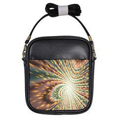 Vortex Glow Abstract Background Girls Sling Bags by Simbadda