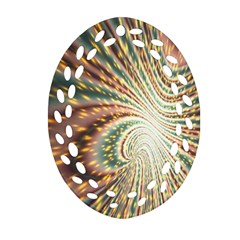 Vortex Glow Abstract Background Oval Filigree Ornament (two Sides) by Simbadda